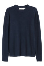 Textured-knit jumper - Dark blue - Men | H&M CN 2