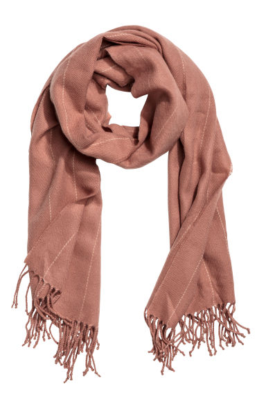 Pinstriped scarf - Old rose - Ladies | H&M CN