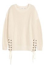 Knitted jumper with lacing - Natural white - Ladies | H&M 2
