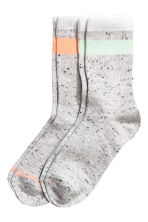 2-pack socks - Light grey marl - Ladies | H&M CN 1