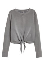 Tie-front sweatshirt - Grey - Ladies | H&M CN 2