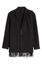 Wool-blend jacket with fringes - Black - Men | H&M 2