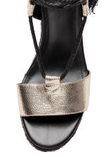 Wedge-heel sandals - Black/Silver - Ladies | H&M 3
