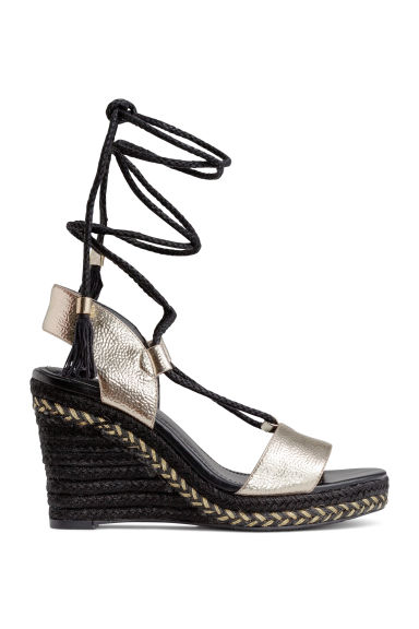 Wedge-heel sandals - Black/Silver - Ladies | H&M 1