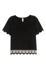 Short-sleeved blouse - Black - Ladies | H&M CN 2