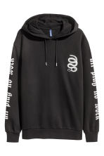 Printed hooded top - Black/Snake - Men | H&M 2