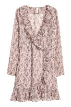 荷葉邊裹身式洋裝 - Powder pink/Pattern - Ladies | H&M 2