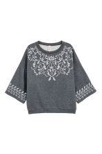 Sweatshirt with a rubber print - Dark grey - Ladies | H&M CN 2