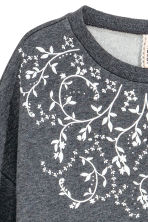 Sweatshirt with a rubber print - Dark grey - Ladies | H&M CN 3