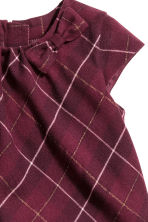 Dress with a bow - Burgundy/Checked - Kids | H&M CN 3