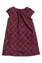 Dress with a bow - Burgundy/Checked - Kids | H&M CN 2