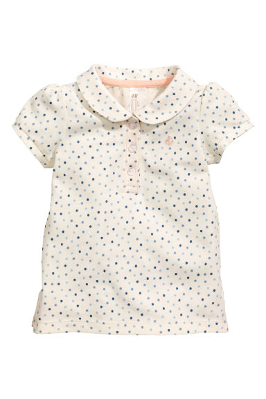 Cotton piqué top - Nat. white/Spotted -  | H&M CN 1