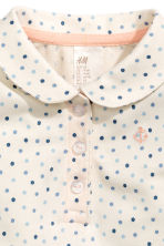 Cotton piqué top - Nat. white/Spotted -  | H&M CN 2