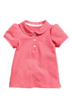 Cotton piqué top - Coral pink/Spotted -  | H&M CN 1