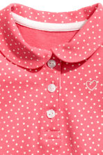 Cotton piqué top - Coral pink/Spotted -  | H&M CN 2