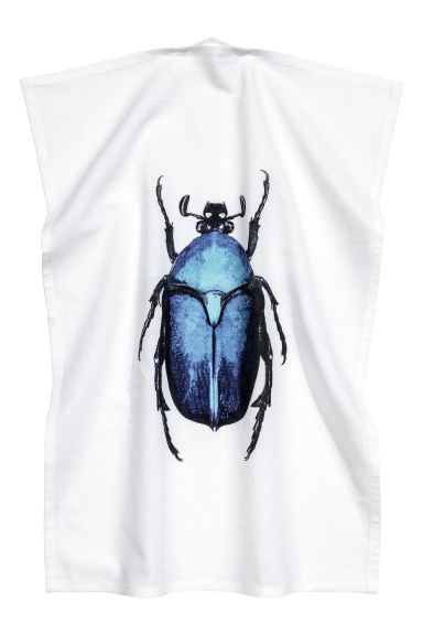Tea towel with a motif - White/Beetle - Home All | H&M CN 1