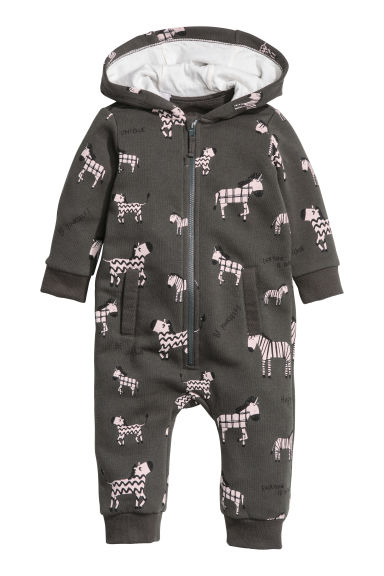 Sweatshirt all-in-one suit - Dark grey/Zebra - Kids | H&M 1