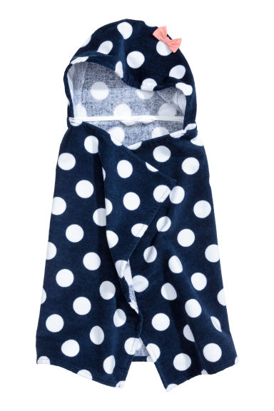 Hooded towel - Dark blue/Spotted - Home All | H&M 1