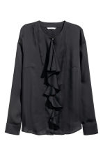 Ruffled blouse - Black - Ladies | H&M CN 2