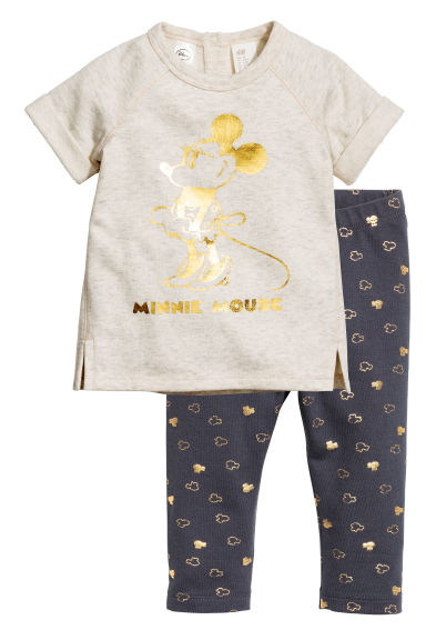 Dress and leggings - Light beige/Minnie Mouse - Kids | H&M CN 1