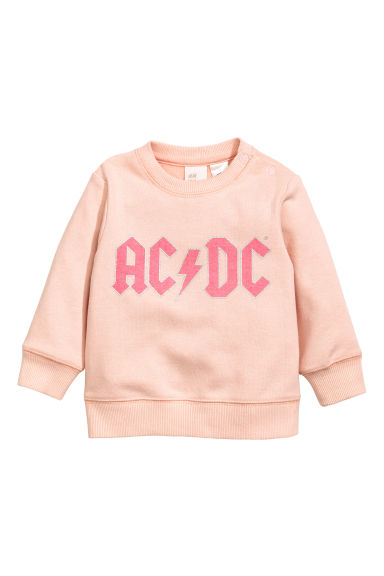 Printed sweatshirt - Powder pink AC/DC - Kids | H&M CN 1