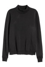 Fine-knit polo-neck jumper - Black -  | H&M 2