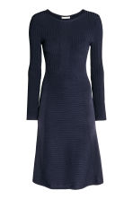 Knitted dress - Dark blue - Ladies | H&M CN 2
