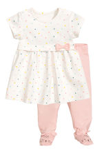 Dress and leggings - White/Spotted - Kids | H&M CN 1