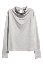 Draped top - Light grey marl - Ladies | H&M 2