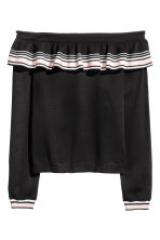 Off-the-shoulder jumper - Black/Striped - Ladies | H&M 2