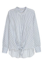 Tie-front shirt - White/Blue striped - Ladies | H&M 2