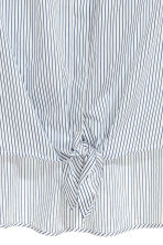 Tie-front shirt - White/Blue striped -  | H&M 3