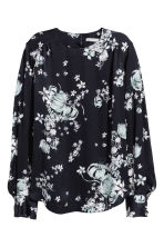 Long-sleeved blouse - Dark blue/Floral - Ladies | H&M 2