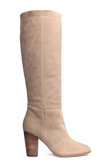 Suede knee-high boots - Light beige - Ladies | H&M CN 1