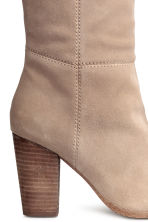 Suede knee-high boots - Light beige - Ladies | H&M 4