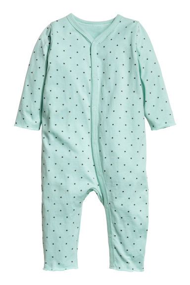 Printed all-in-one pyjamas - Mint green/Stars - Kids | H&M