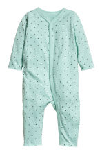 Printed all-in-one pyjamas - Mint green/Stars -  | H&M 1