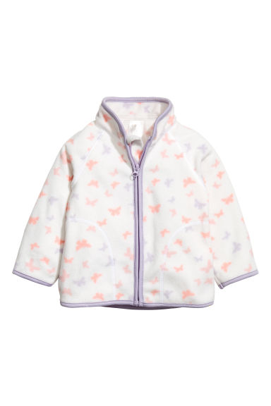 Fleece jacket - White/Butterflies - Kids | H&M 1