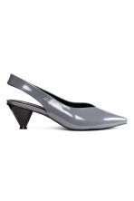 Patent slingbacks - Dark grey - Ladies | H&M CN 2