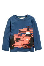 Long-sleeved T-shirt - Dark blue/Car -  | H&M 2