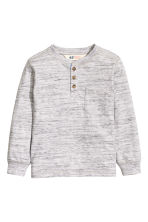 Henley shirt - Light grey marl -  | H&M 2