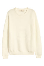 Textured cotton jumper - White - Men | H&M 2