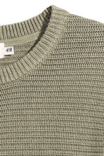 Textured cotton jumper - Light khaki green - Men | H&M CN 3
