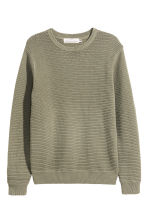Textured cotton jumper - Light khaki green - Men | H&M CN 2