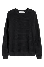 Textured cotton jumper - Black - Men | H&M 2