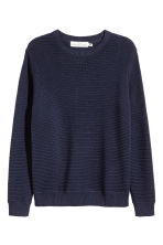 Textured cotton jumper - Dark blue - Men | H&M 2
