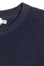 Textured cotton jumper - Dark blue - Men | H&M 3