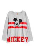 Long-sleeved top - Grey/Mickey Mouse - Ladies | H&M CN 2