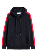 Fine-knit hooded jumper - Dark blue/Red - Men | H&M 2