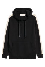 Fine-knit hooded jumper - Black/White - Men | H&M 2